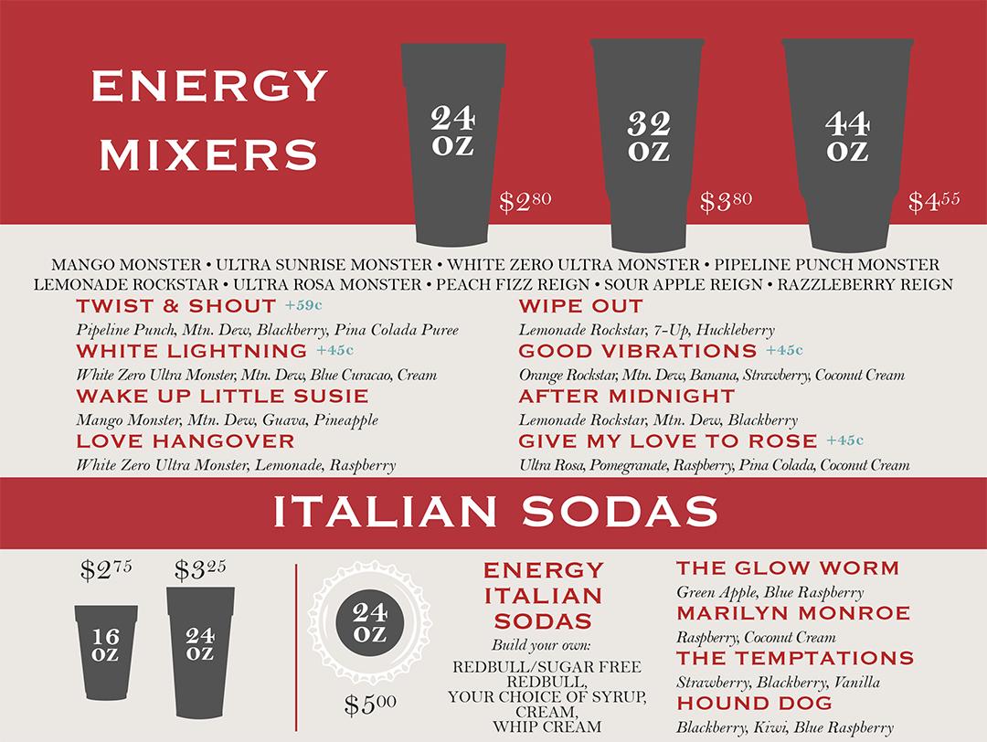 Rexburg Idaho Italian Sodas and Energy Mixers